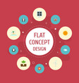 Flat icons beauty insect bear blossom and other vector image