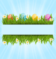 Easter colorful eggs and camomiles in green grass vector image vector image
