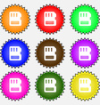 compact memory card icon sign A set of nine vector image