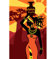 african beautiful woman at sunset vector image