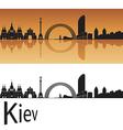 Kiev skyline in orange background vector image