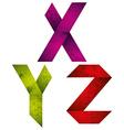 Origami alphabet letters X Y Z vector image