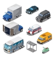 Car park with various transport icons set vector image