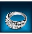 Silver ring with some diamonds vector image vector image