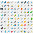 100 technology icons set isometric 3d style vector image