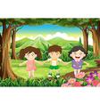 Three playful kids at the jungle vector image vector image