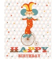 Birthday card with clown vector image vector image