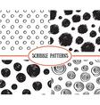 Set of stylish hand drawn polka dot seamless vector image vector image