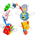 Collection stationery giving thumb up with blank s vector image