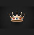 Gold royal crown with red and blue diamand vector image