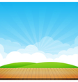 Brown wood floor with green field and blue sky vector image