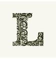 Elegant capital letter L in the style Baroque vector image