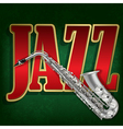 grunge green background with saxophone and word vector image