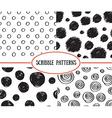 Set of stylish hand drawn polka dot seamless vector image