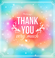 Thank you card on soft colorful background vector image