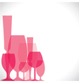 wine glass pink background vector image