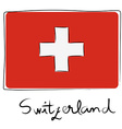Switzerland flag doodle vector image vector image