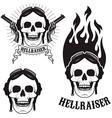 Skull in motorcycle helmet with fire Hellraiser vector image