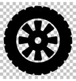 Road tire sign Flat style black icon on vector image