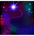 background bright shining star and comet vector image