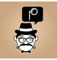 cartoon hipster monocle glass retro vector image