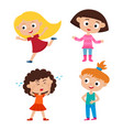 color set of cartoon girls with different vector image