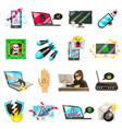 Computer criminal icons collection vector image