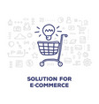 creative of big shopping trolley with light bulb vector image