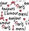 seamless pattern with handwritten french words vector image