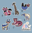 set of cute patch badges with animals alphabet f - vector image