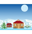 Village on background of the snow mountains vector image