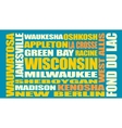 Wisconsin state cities list vector image