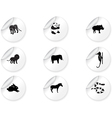 Stickers with animal icons 3 vector image