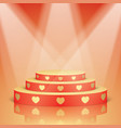 red scene with golden hearts and lighting vector image