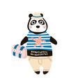 cute dressed panda tourist hand drawn vector image
