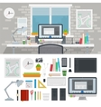 Designer cabinet full of different tools vector image