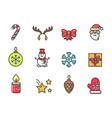 christmas theme icons set vector image