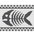 Knitted pattern with fish skeleton vector image