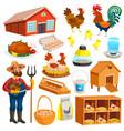poultry farm elements set vector image