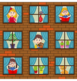 seamless pattern brick wall with children in vector image