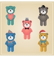 Winter Hipster Teddy Bear vector image
