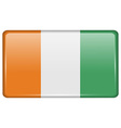 Flags Cote dlvoire in the form of a magnet on vector image