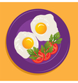 fried eggs and vegetables vector image vector image