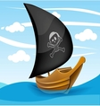 Sail boat with pirate symbol on a cloudy day vector image