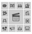 black movie icon set vector image vector image