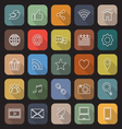 Social media line flat icons with long shadow vector image