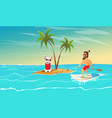 cheerful surfer and dog are relax vector image