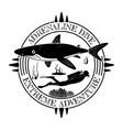 grunge vintage diving label design with shark and vector image