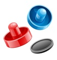 Mallets and puck for playing vector image