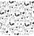 seamless floral romantic pattern with birds vector image